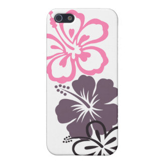 gray and pink hibiscus Hawaiian  theme iPhone SE/5/5s Case