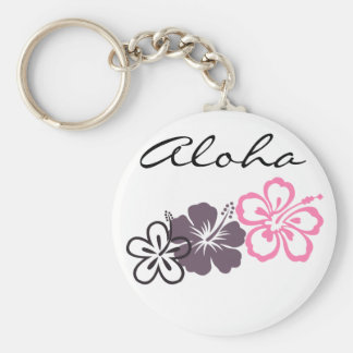 gray and pink hibiscus Hawaiian  theme Key Chains