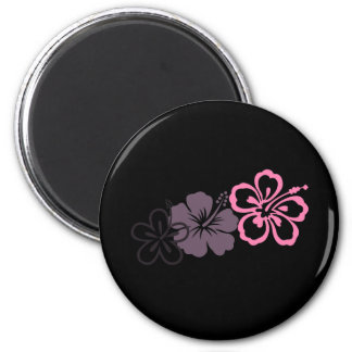 gray and pink hibiscus Hawaiian  theme Magnets
