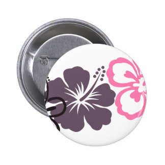 gray and pink hibiscus Hawaiian  theme Pinback Button