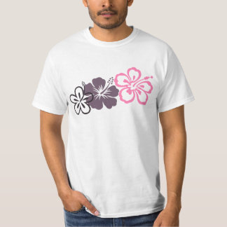 gray and pink hibiscus Hawaiian  theme T-shirt