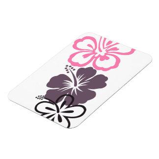 gray and pink hibiscus Premium Magnet