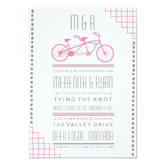 "GRAY AND PINK HIPSTER BICYCLE WEDDING INVITATION 5"" X 7"" INVITATION CARD"