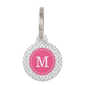 Gray and Pink Ikat Diamonds Monogram Pet Name Tag