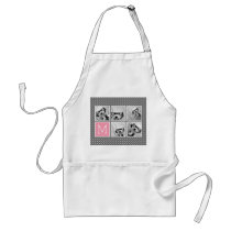 Gray and Pink Instagram 5 Photo Collage Monogram Adult Apron