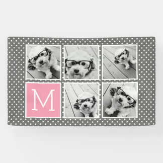 Gray and Pink Instagram 5 Photo Collage Monogram Banner