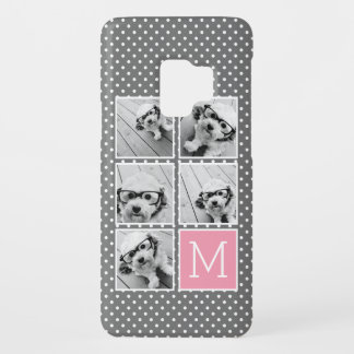 Gray and Pink Instagram 5 Photo Collage Monogram Case-Mate Samsung Galaxy S9 Case