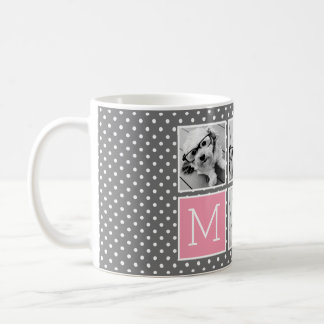 Gray and Pink Instagram 5 Photo Collage Monogram Coffee Mug