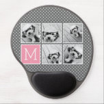 "Gray and Pink Instagram 5 Photo Collage Monogram Gel Mouse Pad<br><div class=""desc"">Pastel and White Polka Dot Pattern - Use five square photos to create a unique and personal gift. Or you can keep the hipster puppy and make a trendy keepsake. If you need to adjust the pictures,  click on the customize tool to make changes.</div>"