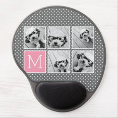 Gray And Pink Instagram 5 Photo Collage Monogram Gel Mouse Pad at Zazzle