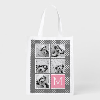 Gray and Pink Instagram 5 Photo Collage Monogram Grocery Bag