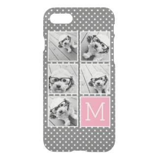 Gray and Pink Instagram 5 Photo Collage Monogram iPhone 8/7 Case