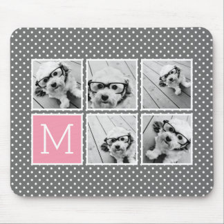Gray and Pink Instagram 5 Photo Collage Monogram Mouse Pad