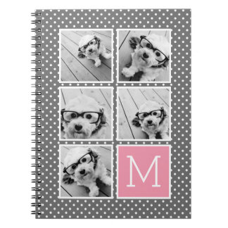 Gray and Pink Instagram 5 Photo Collage Monogram Notebook