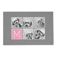 Gray and Pink Instagram 5 Photo Collage Monogram Placemat