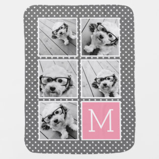 Gray and Pink Instagram 5 Photo Collage Monogram Swaddle Blanket