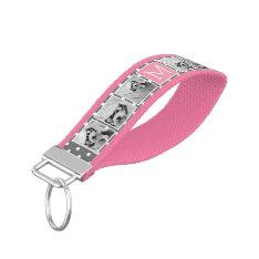Gray And Pink Instagram 5 Photo Collage Monogram Wrist Keychain at Zazzle