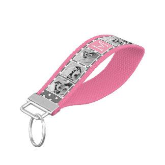Gray and Pink Instagram 5 Photo Collage Monogram Wrist Keychain