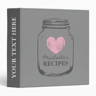Gray And Pink Mason Jar Kitchen Recipe Binder Book at Zazzle