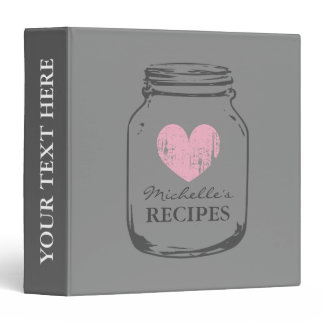 Gray and pink mason jar kitchen recipe binder book
