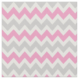 Gray and Pink Modern Chevron Fabric