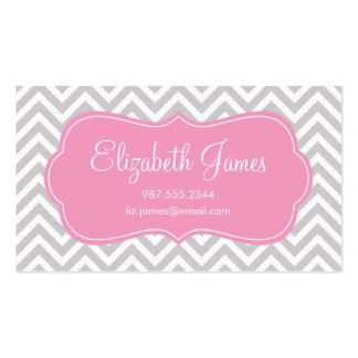 Gray and Pink Modern Chevron Stripes Business Card Templates