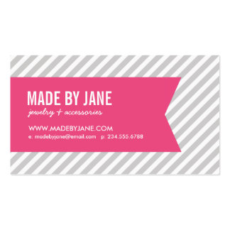 Gray and Pink Modern Stripes Social Media Double-Sided Standard Business Cards (Pack Of 100)