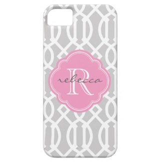 Gray and Pink Modern Trellis Custom Monogram iPhone SE/5/5s Case