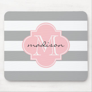 Gray and Pink Nautical Stripes Custom Monogram Mouse Pad