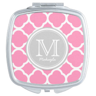 Gray and Pink quatrefoil with Monogram Compact Mirror