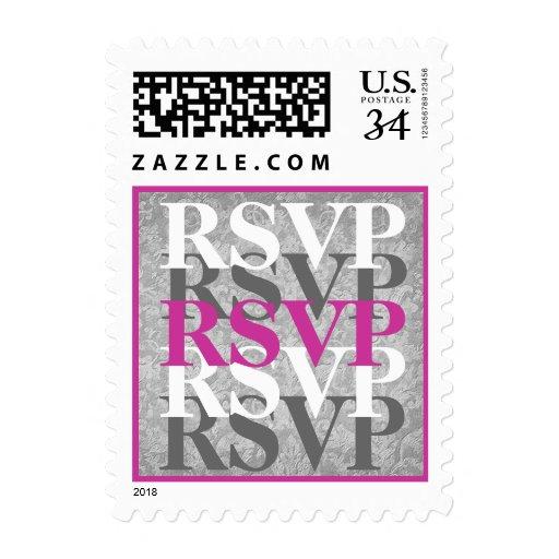 Gray and Pink RSVP Modern Wedding W06 Postage Stamp