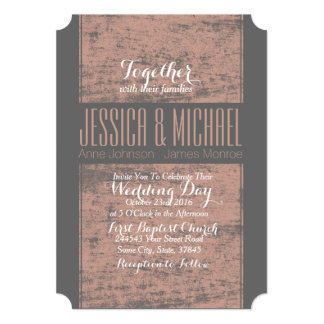 Gray and Pink Rustic Grunge Wedding 5x7 Paper Invitation Card