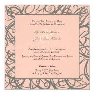 Gray and Pink Sketchy Frame Wedding Invitation