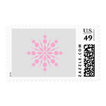 Gray and Pink Snowflake Postage