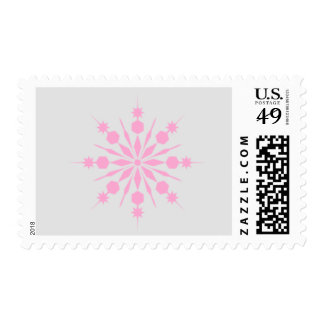 Gray and Pink Snowflake Postage