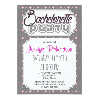 """Gray and Pink Squares; Diamonds Pattern 4.5"""" X 6.25"""" Invitation Card"""