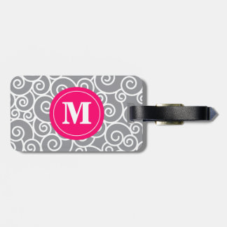 Gray and Pink Swirl Monoagram Luggage Tag