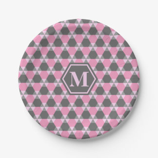 Gray and Pink TH Paper Plate 7 Inch Paper Plate