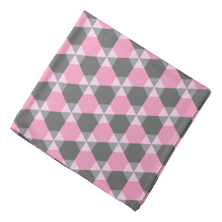 Gray and Pink Triangle-Hex Bandana