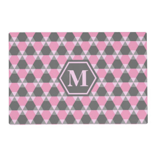 Gray and Pink Triangle-Hex Placemat