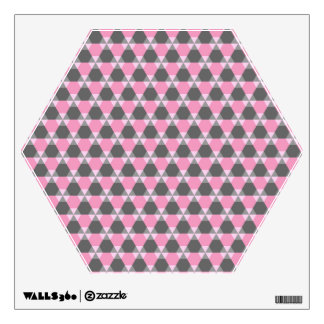 Gray and Pink Triangle-Hex Wall Decal