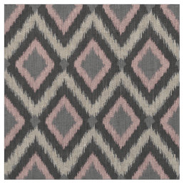 Gray and Pink Tribal Ikat Chevron Fabric