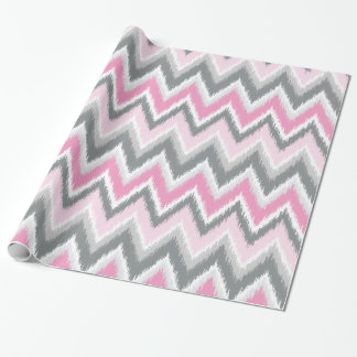 Gray and Pink Tribal Ikat Chevron Wrapping Paper