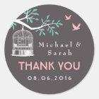 Gray and Pink Vintage Bird Cage Wedding Sticker