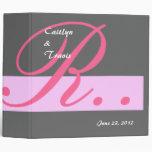 Gray and Pink Wedding Monogram R Planner A004 Vinyl Binder