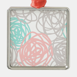 Gray and Pink with Teal Scribbles Pattern Metal Ornament