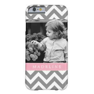 Gray and Pink Zigzags Personalized Photo Barely There iPhone 6 Case