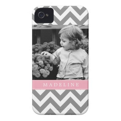 Gray and Pink Zigzags Personalized Photo iPhone 4 Case-Mate Case