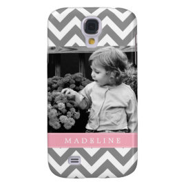 Gray and Pink Zigzags Personalized Photo Galaxy S4 Case