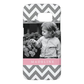 Gray and Pink Zigzags Personalized Photo Samsung Galaxy S7 Case